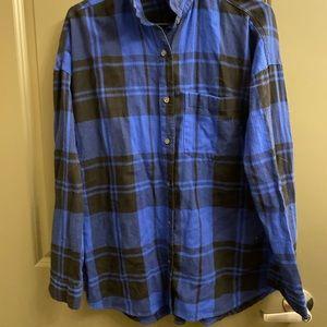 Old Navy Boyfriend Style Blue/Black Flannel